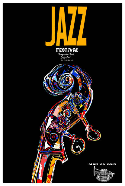 jazz festival poster with scroll of double-bass vector art illustration