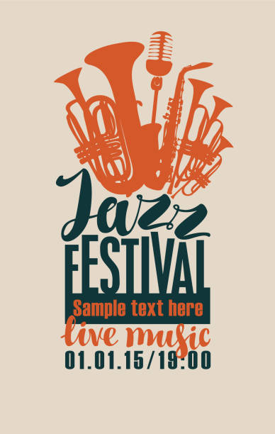 jazz festival poster with wind instruments and mic - jazz stock illustrations