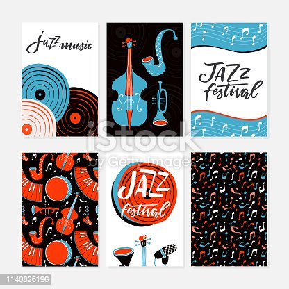 Vector set of Jazz festival posters, flyers, banners, greeting cards template. Saxophone, double bass, piano, trumpet, bass drum and snare drum. Perfect for music events, jazz concerts.