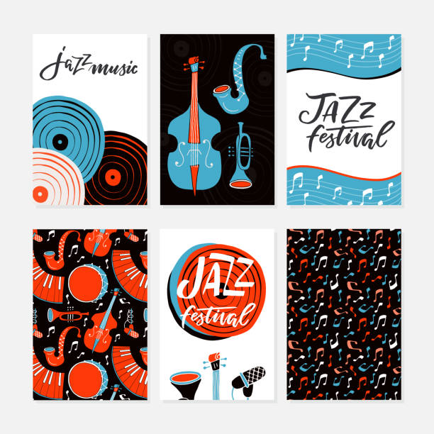jazz festival posters, flyers, banners, greeting cards template - jazz stock illustrations