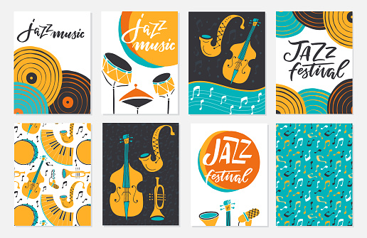 Jazz festival posters, flyers, banners, greeting cards template