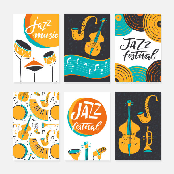jazz festival posters, flyers, banners, greeting cards template - instrument perkusyjny stock illustrations