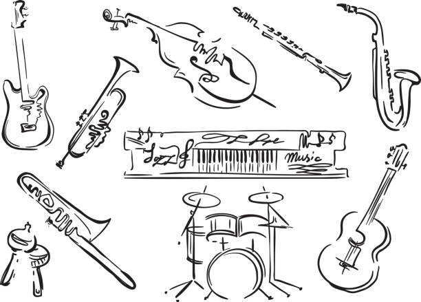 stockillustraties, clipart, cartoons en iconen met jazz festival. - trompet