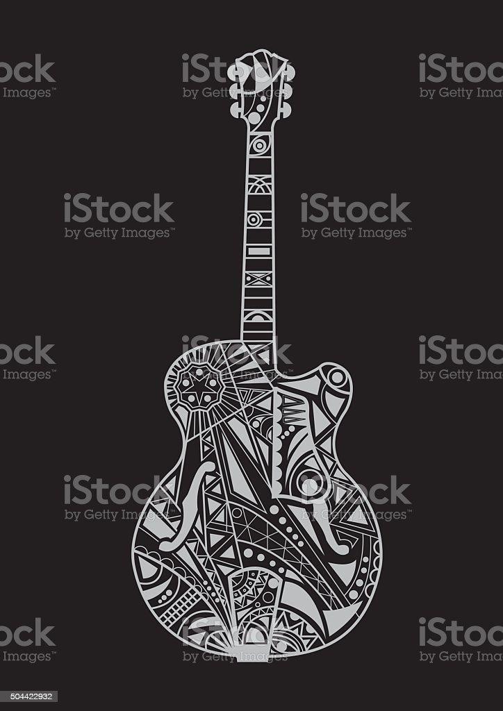 jazz guitar design vektör sanat illüstrasyonu