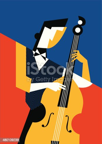 abstract geometrical illustration of jazz guitar player