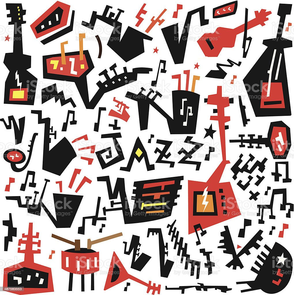 Jazz Instruments Symbols Stock Vector Art More Images Of Acoustic
