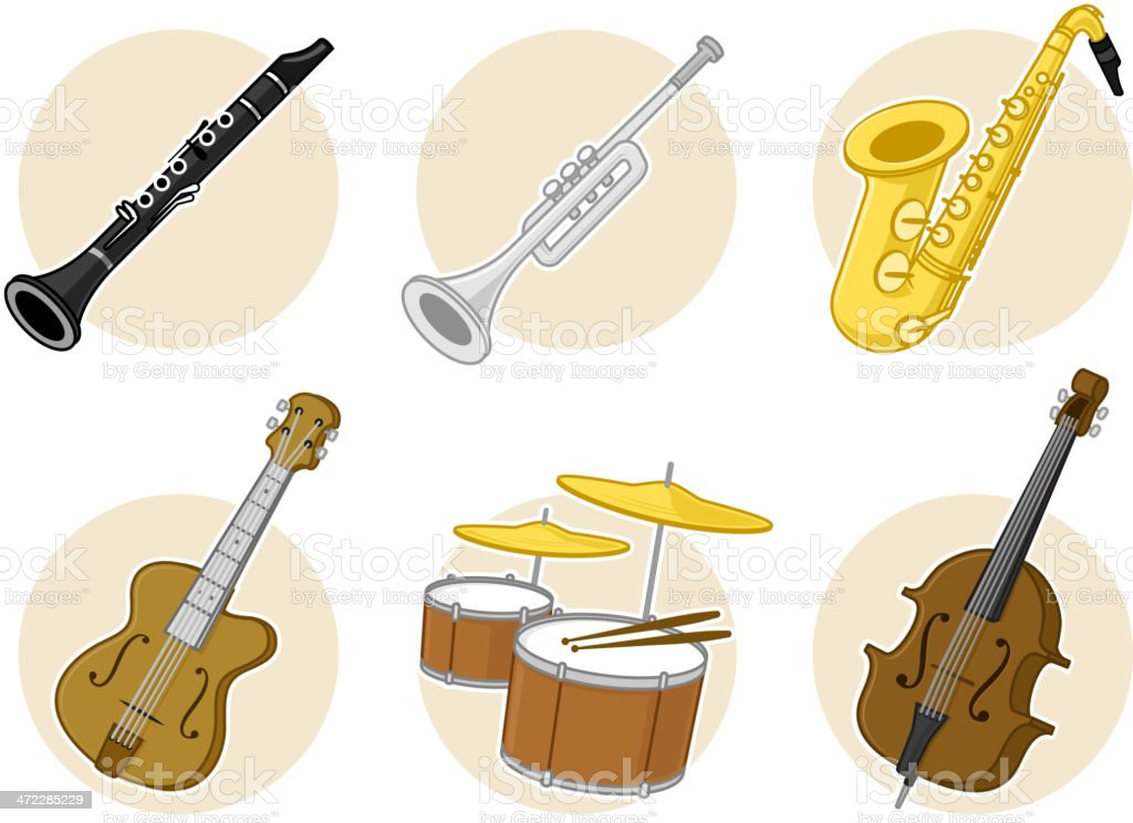 Jazz Instruments stock vector art 472285229 | iStock