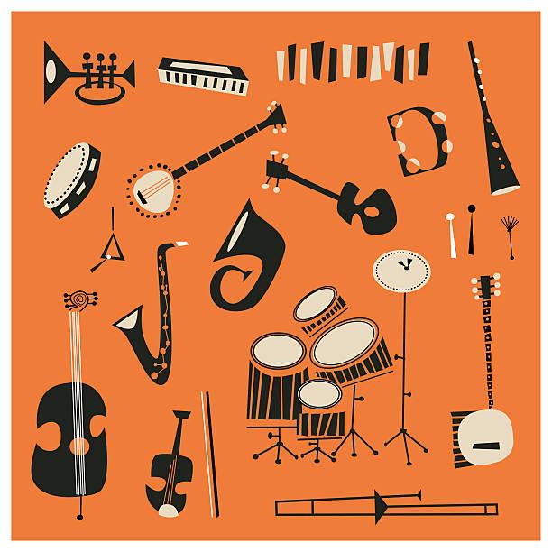 instrumenty jazzowe - instrument muzyczny stock illustrations