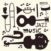 Jazz instruments vector set in black and white