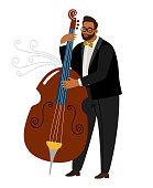 Jazz man contrabassist, vector cartoon character with instrument. Jazz musician player, sound musical contrabassist illustration