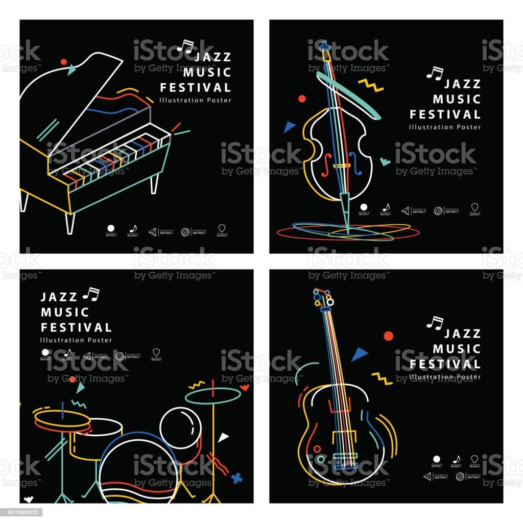Jazz music banner poster square 4 musical instrument illustration vector. Music concept. vector art illustration