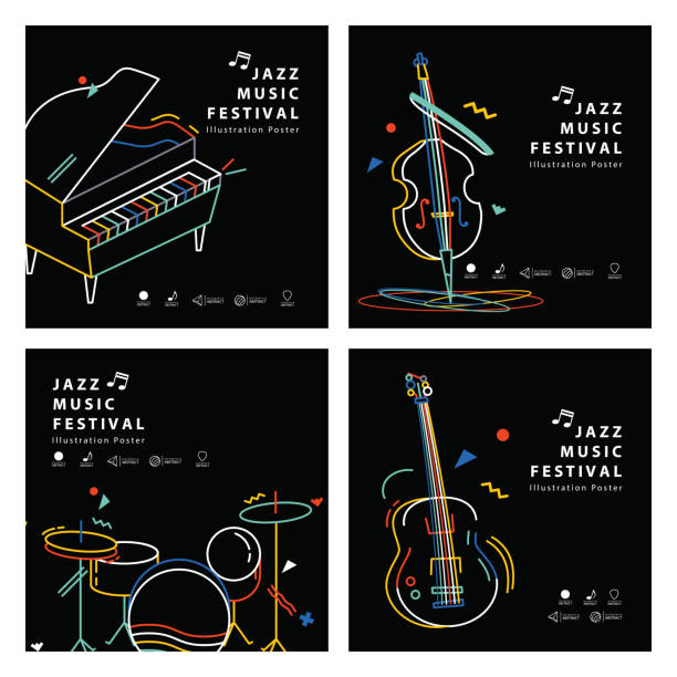 jazz music banner poster square 4 musical instrument illustration vector. music concept. - pianino instrument klawiszowy stock illustrations