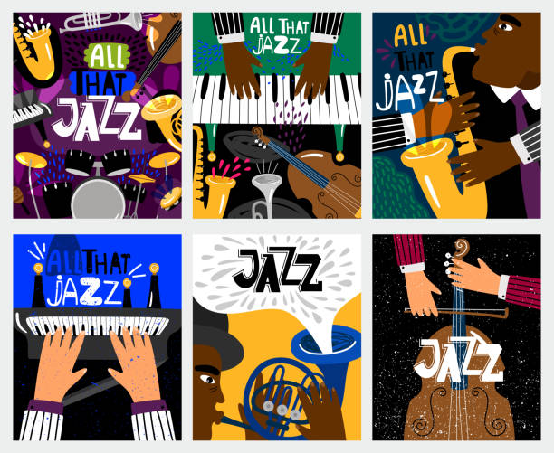 jazz music banners - jazz stock illustrations