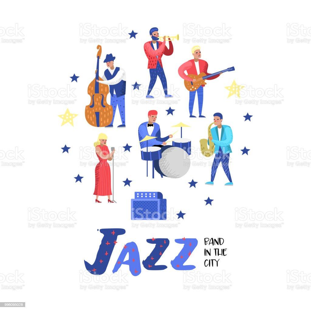 Caz müzik karakter seti. Müzik aletleri, müzisyen ve şarkıcı sanatçı. Contrabassist, davulcu, müzisyen, gitarist. Vektör çizim vektör sanat illüstrasyonu