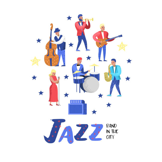 Jazz Music Characters Set. Musical Instruments, Musicians and Singer Artists. Contrabassist, drummer, saxophonist, guitarist. Vector illustration vector art illustration