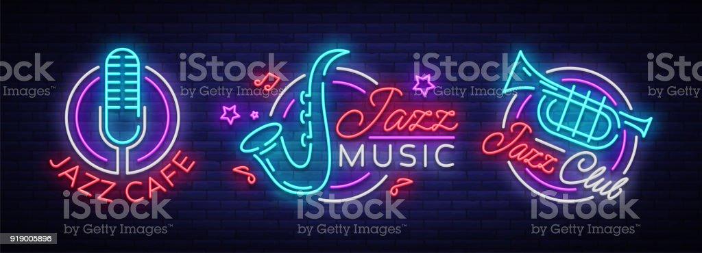 Caz müzik koleksiyonu neon işaret. Semboller, neon tarzı, parlak gece afiş, caz müzik Jazz Cafe, Restoran, parti, konser için reklam aydınlık s topluluğu. Vektör çizim vektör sanat illüstrasyonu