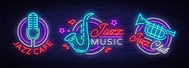 bildbanksillustrationer, clip art samt tecknat material och ikoner med jazzmusik samling neonskyltar. symboler, samling av s i neon stil, ljusa natten banner, lysande reklam på jazzmusik för jazz café, restaurang, fest, konsert. vektorillustration - blåsinstrument