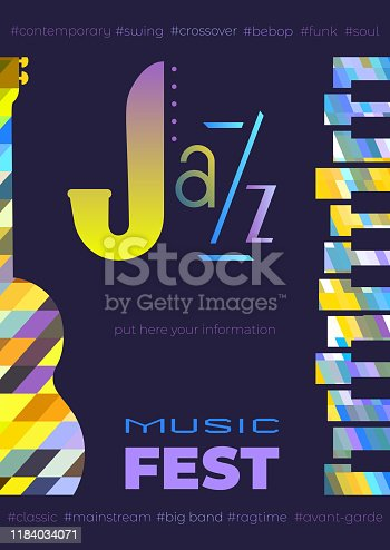 Template Design Poster with classic guitar piano silhouette. Design idea Live Jazz Music Festival show promotion advertisement. Seasonal musical event background vector vintage illustration A4 size