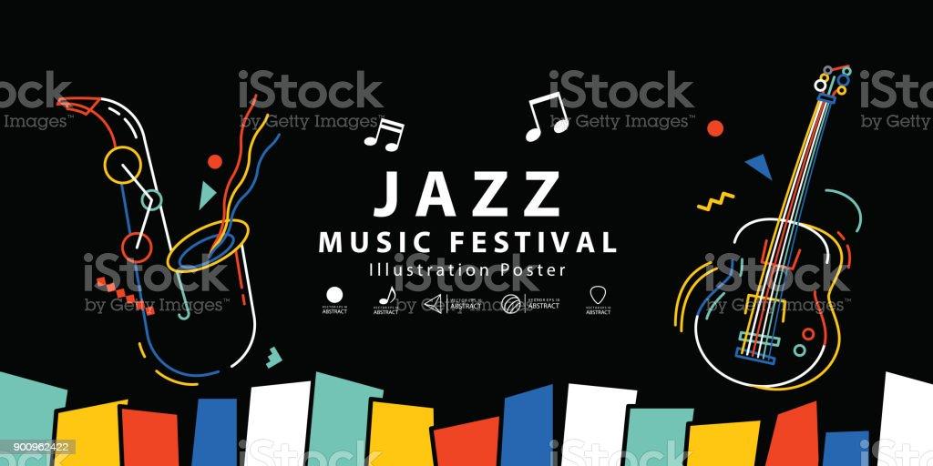 Caz müzik Festivali Afiş poster illüstrasyon vektör. Arka plan kavramı. vektör sanat illüstrasyonu