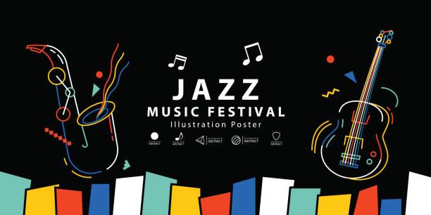 ilustrações, clipart, desenhos animados e ícones de música jazz festival banner cartaz ilustração vector. conceito de plano de fundo. - músico