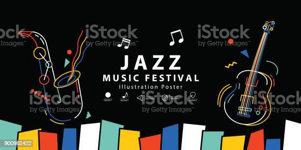 Jazz Muziek Festival Banner Poster Illustratie Vector Achtergrond Concept Stockvectorkunst en meer beelden van Abstract