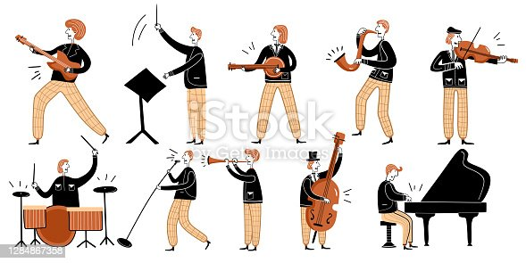 istock Jazz music festival cartoon character vector illustration. Musicians play instruments: piano, drums, guitar, double bass, trumpet and saxophone perform on the stage at live night concert. 1284867358