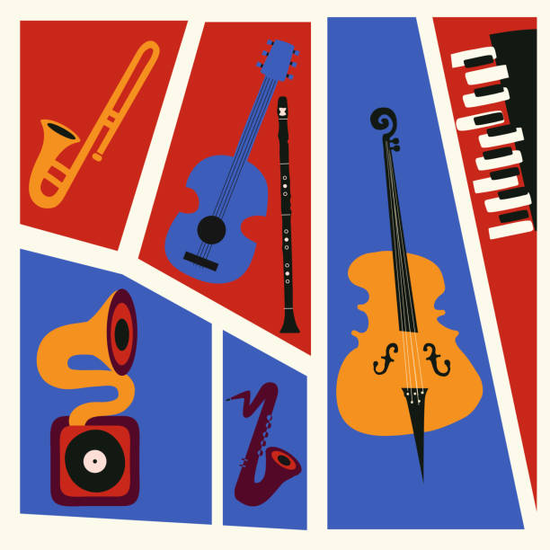 jazz music festival colorful poster with music instruments - klarnet stock illustrations