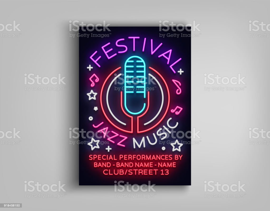 Jazz Music Festival Design Template Typography in Neon Style. Neon Sign, Bright Advertising, Flyer Invitation to the Party, Festival, Jazz Music Concert. Vector illustration vector art illustration