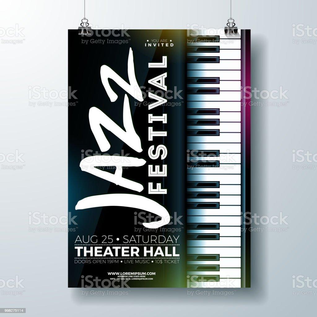 Jazz Music Festival Flyer Design With Piano Keyboard On Dark
