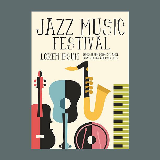 jazz festival plakat reklama z instrumentów muzycznych - instrument muzyczny stock illustrations