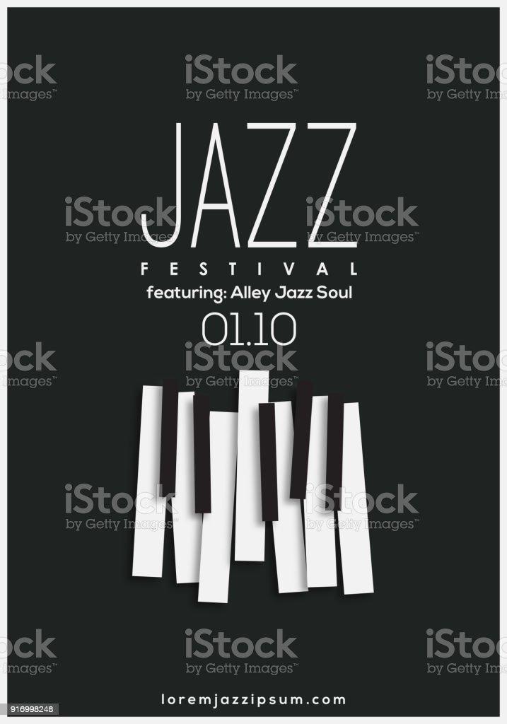 Caz müzik Festivali, afiş arka plan şablonu. vektör sanat illüstrasyonu