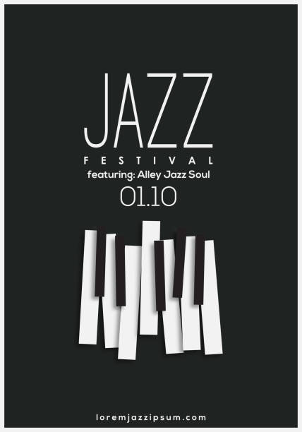 jazz music festival, poster background template. - pianino instrument klawiszowy stock illustrations