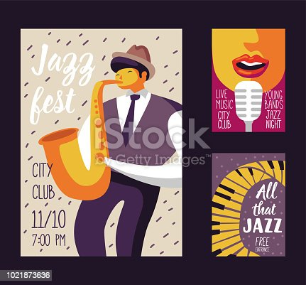 Jazz Music Festival Poster Template, Flyer, Placard. Musical Concert Event Banner with Musician and Singer. Vector illustration