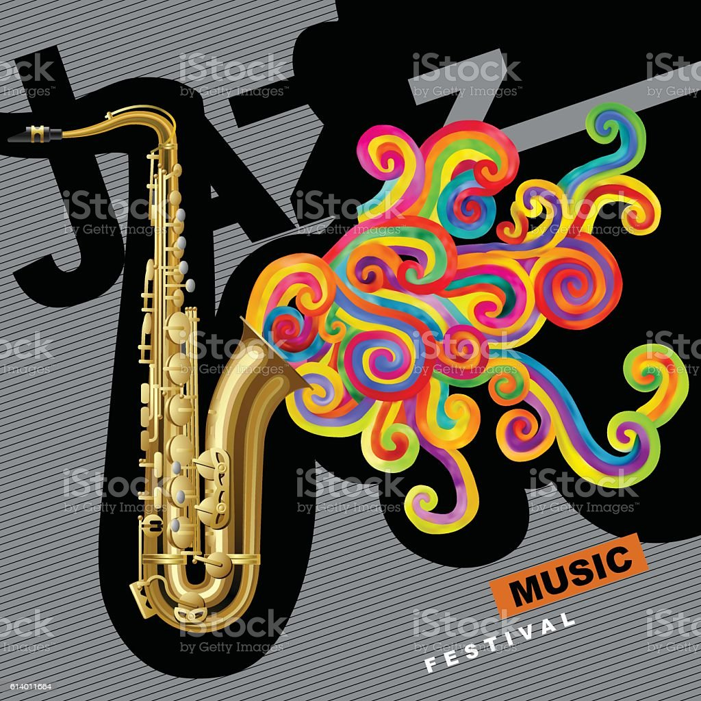 Jazz music festival poster vector art illustration