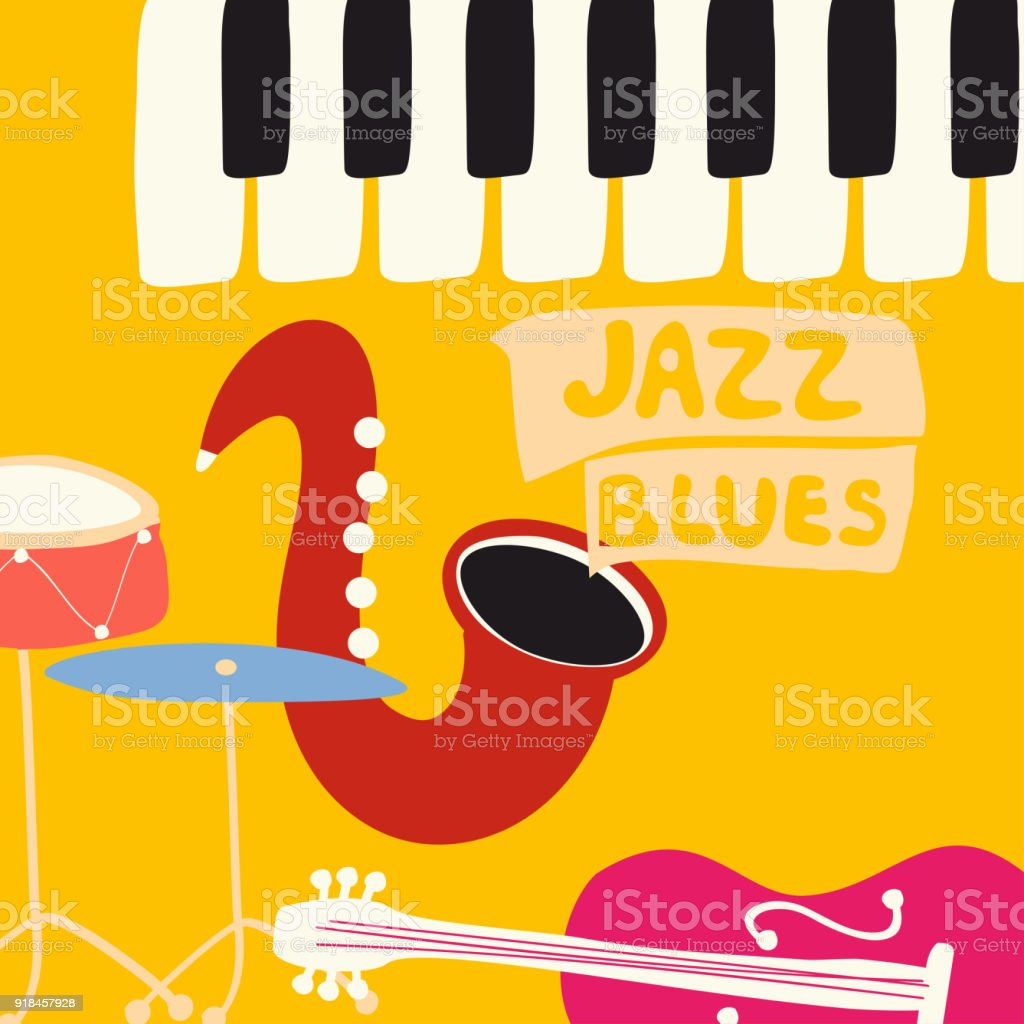 Jazz Music Festival Poster With Music Instruments Stock Illustration