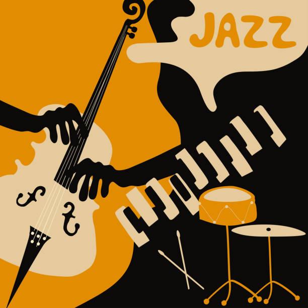 jazz music festival poster with music instruments - talerz perkusyjny stock illustrations