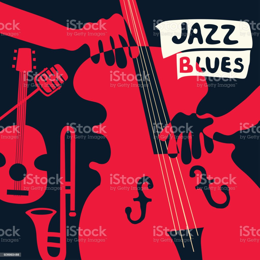 Jazz Music Festival Poster With Music Instruments Stock Vector Art