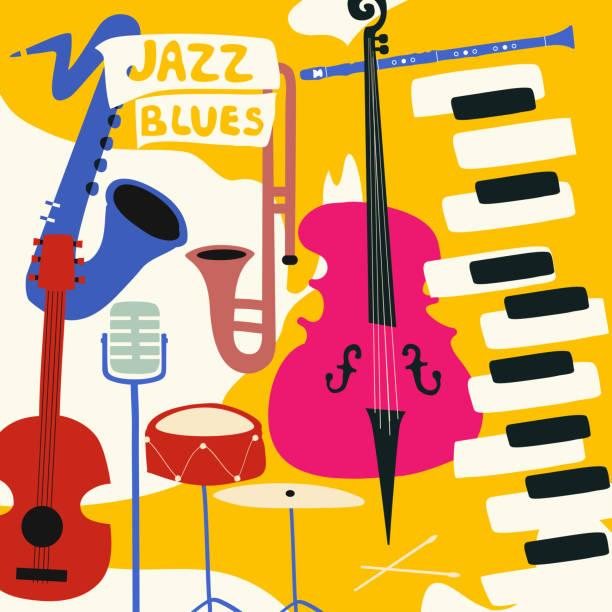 jazz music festival poster with music instruments - klarnet stock illustrations