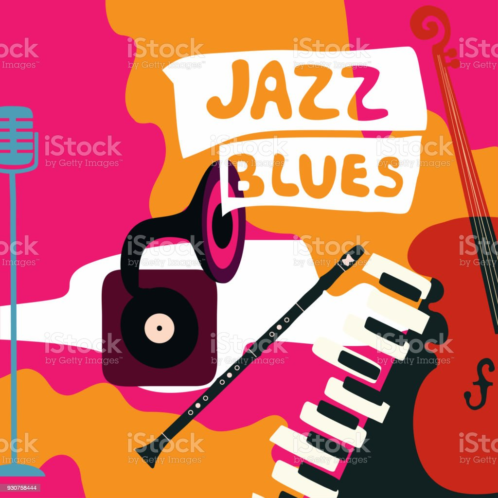 Jazz Music Festival Poster With Music Instruments Stock Illustration -  Download Image Now