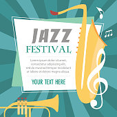 Jazz music festival poster with musical instruments. Vector Illustration