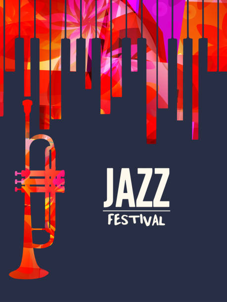 jazz music festival poster with piano keyboard and trumpet - jazz stock illustrations