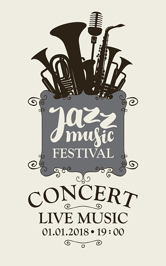 jazz music festival poster with wind instruments