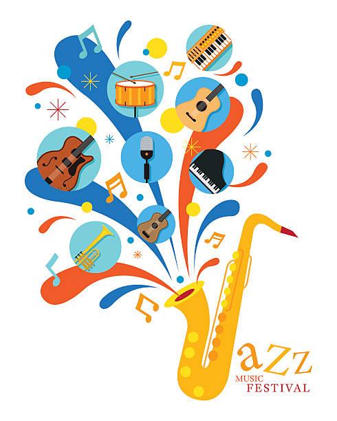 ilustrações de stock, clip art, desenhos animados e ícones de jazz music instruments, saxophone with icons - saxofone