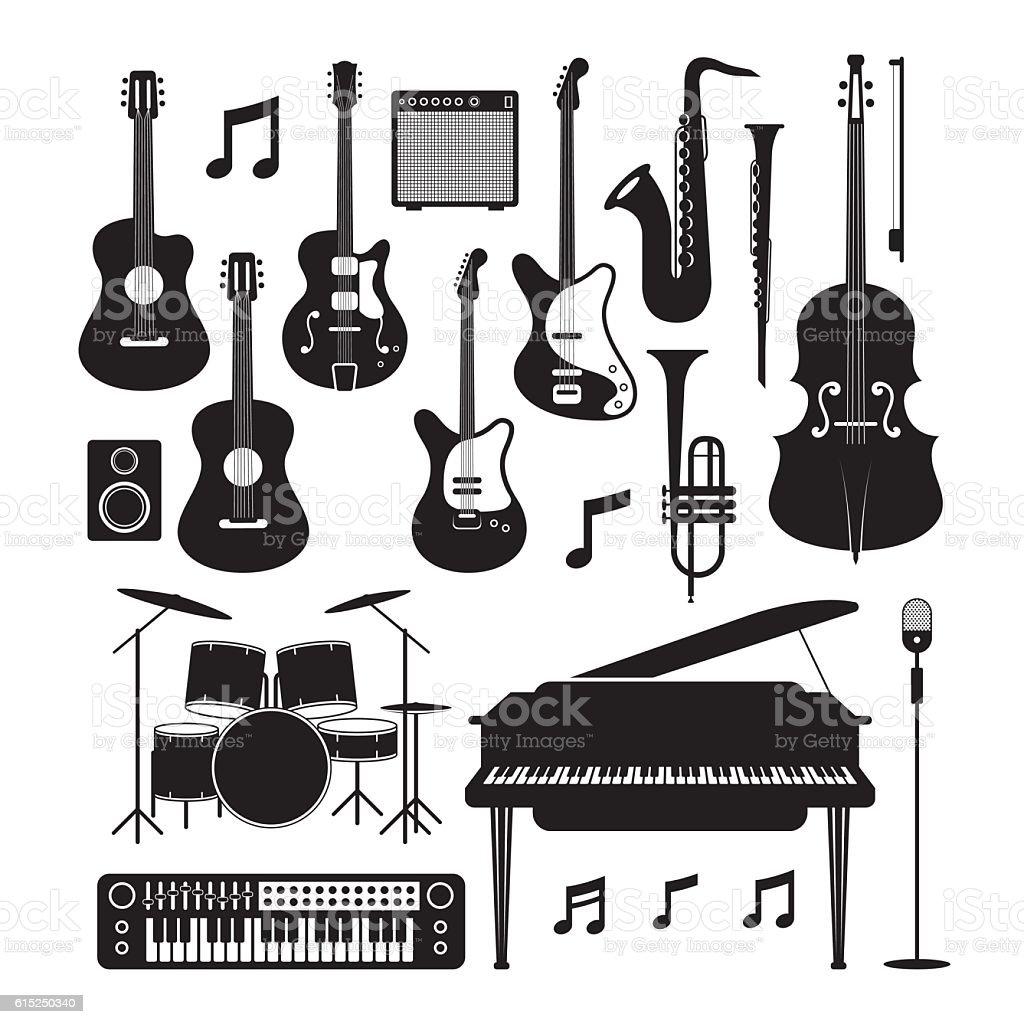 Jazz Music Instruments Silhouette Objects Set векторная иллюстрация