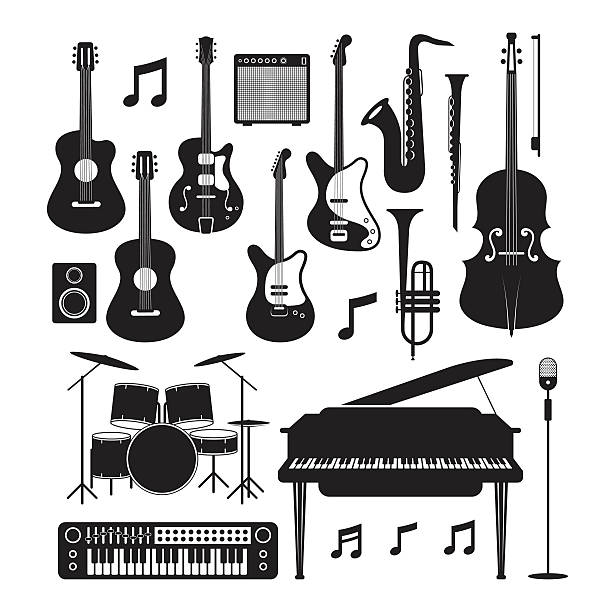 Jazz Music Instruments Silhouette Objects Set vector art illustration