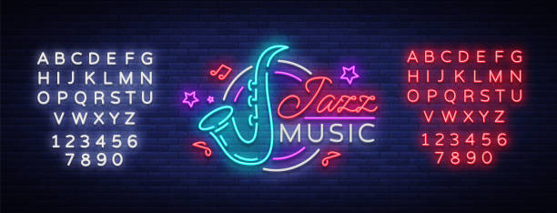 jazz music is a neon sign. symbol, neon-style logo, bright night banner, luminous advertising on jazz music for jazz cafe, restaurant, bar, party, concert. vector illustration. editing text neon sign - jazz stock illustrations