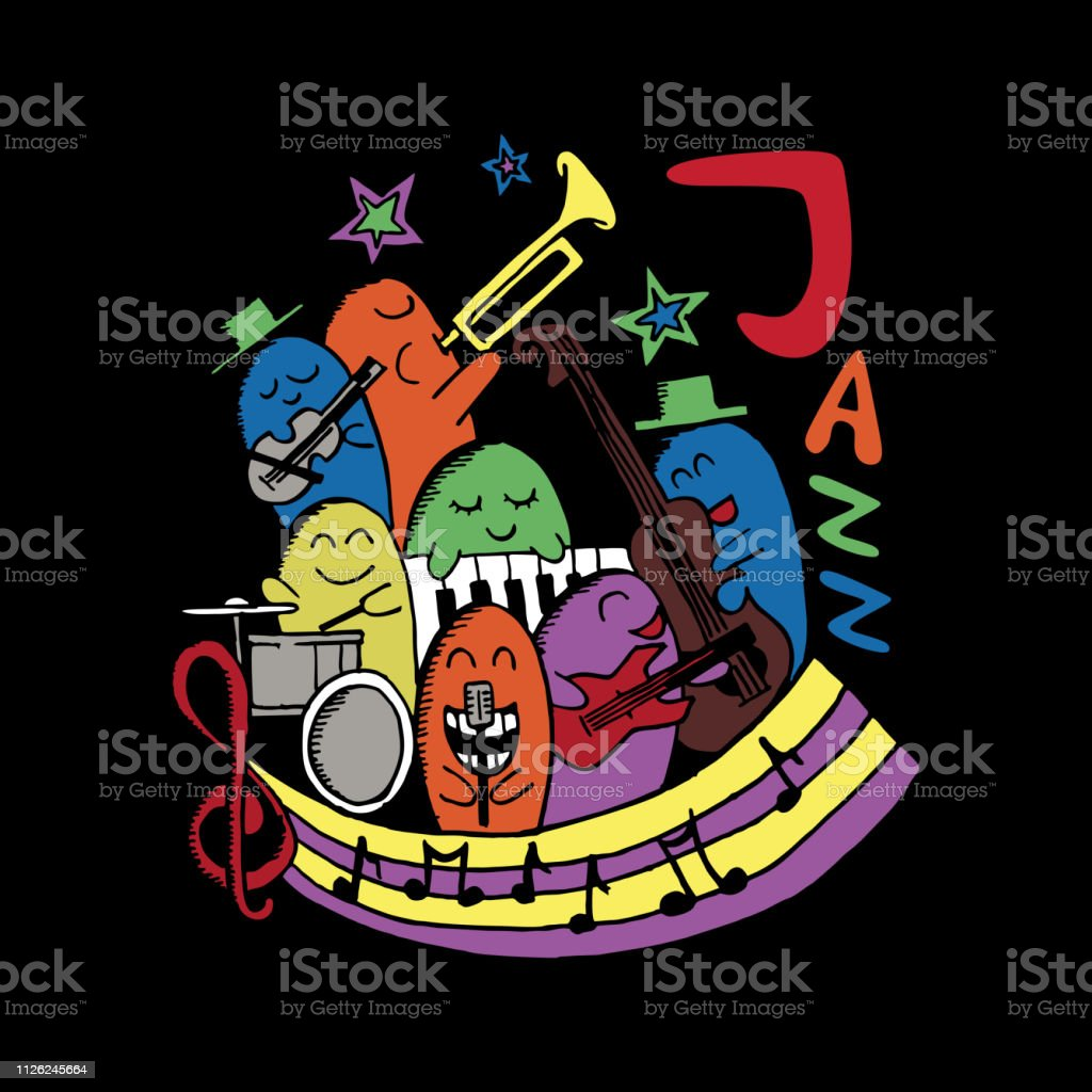Jazz music monster doodle. Colorful vector illustration happy holiday music festival.
