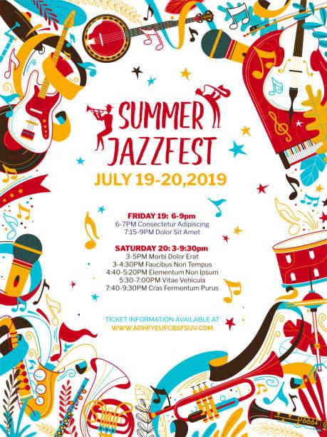 illustrazioni stock, clip art, cartoni animati e icone di tendenza di jazz musica notte piatto vettore modello poster - concerto