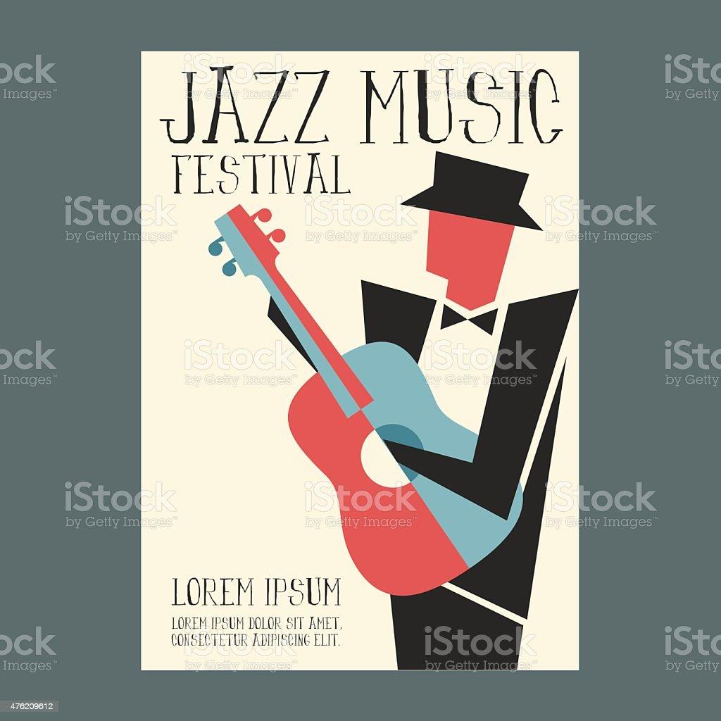 Jazz Odtwarzacz Muzyki Z Gitara Plakat Stockowe Grafiki