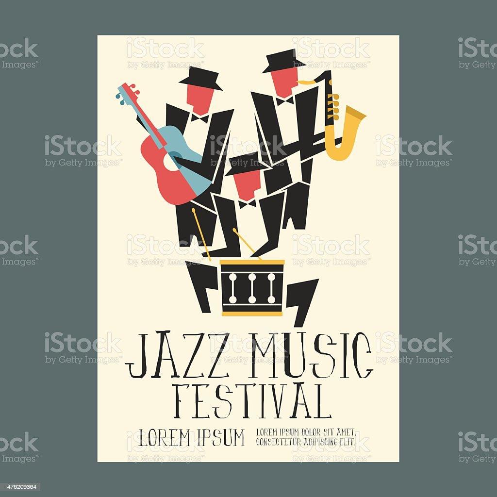 Jazz Odtwarzacze Muzyki Z Gitara Saksofon I Bęben Plakat